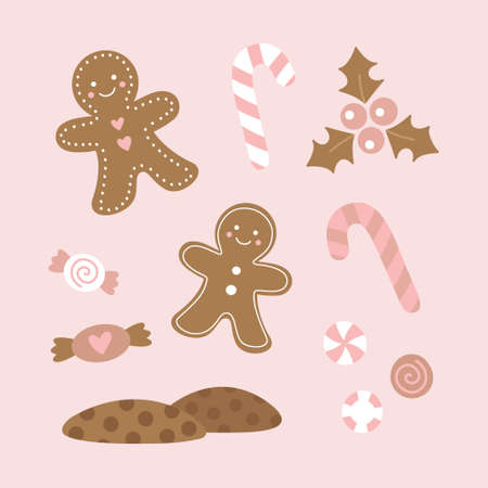 Cute christmas sweet candy vector illustration set