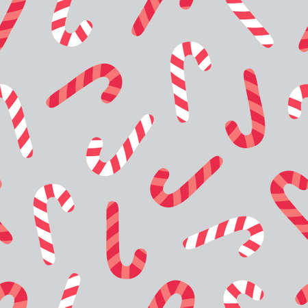 Peppermint candy cane vector seamless pattern. Cute sweet christmas candy canes background. 向量圖像