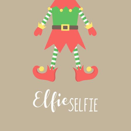 Christmas elf vector illustration. Cute xmas elf, santa helper, elfie selfie hand drawn graphic. Isolated greeting card on beige background.