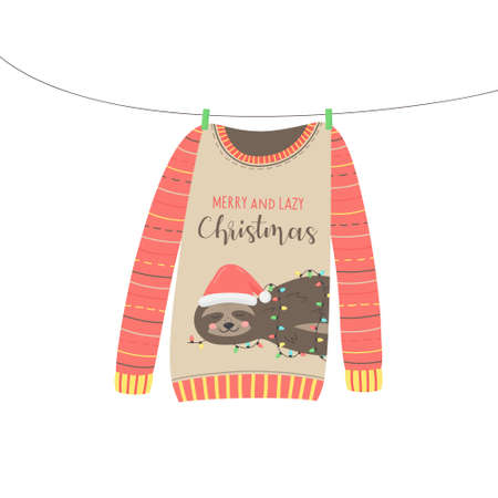 Christmas sweater vector illustration. Warm cozy cute xmas ugly sweater hanging on clothesline. Isolated hand drawing.