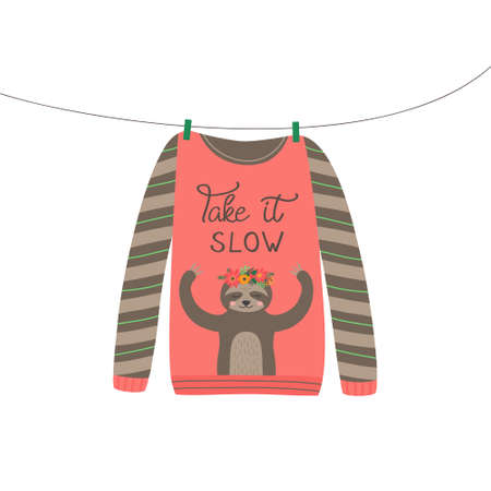 Christmas sloth sweater vector illustration. Warm cozy cute xmas ugly sweater hanging on clothesline. Isolated hand drawing.