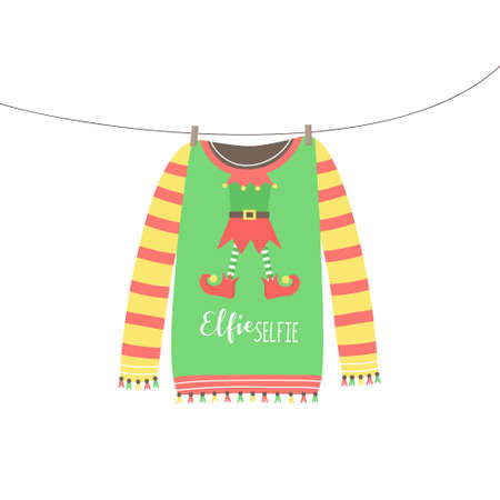 Christmas elf sweater vector illustration. Warm cozy cute xmas ugly sweater hanging on clothesline. Isolated hand drawing. 向量圖像