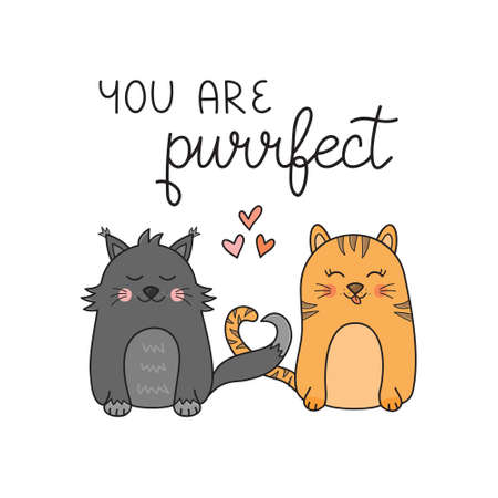 You are purrfect pun cat vector illustration. Cute cats in love hand drawn greeting card design for Valentine s day. Lovely cats with tails in shape of heart. Isolated 向量圖像