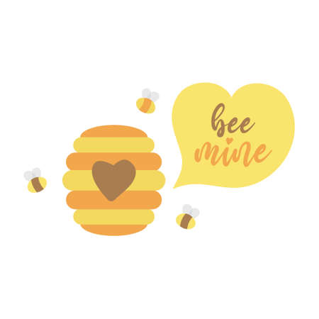 Bee mine cute lovely vector illustration drawing