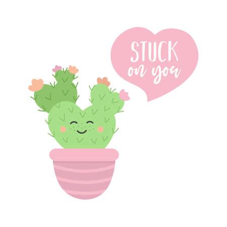 Stuck on you cactus cute vector illustration 向量圖像