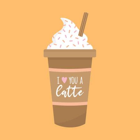 I love you a latte vector illustration 向量圖像