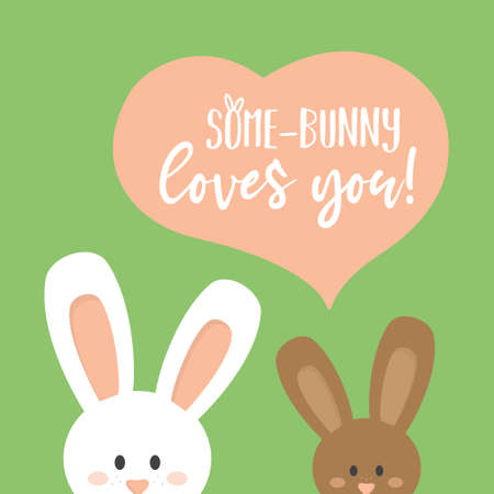 Some bunny loves you cute vector illustration