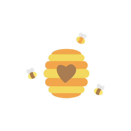 Beehive cute bees vector illustration drawing icon