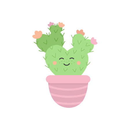 Cute cactus succulent in pot vector illustration 向量圖像
