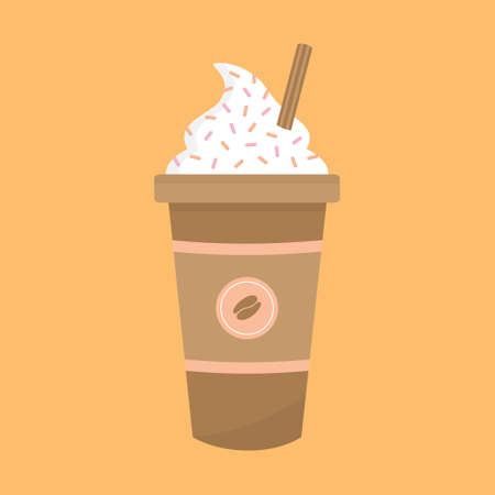 Cute latte coffee cup vector illustration icon