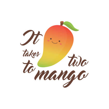 It takes two to mango cute vector illustration.