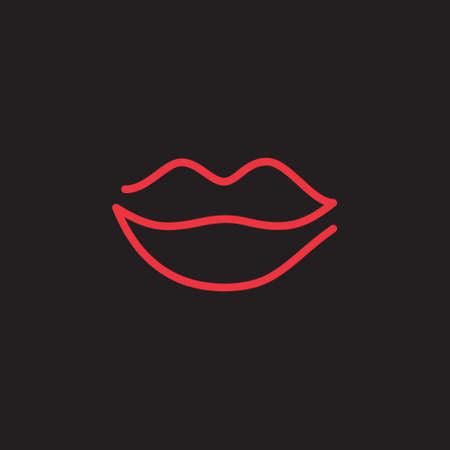 Lips vector illustration. Simple one line red lips icon, hand drawing. Neon like kiss sign, symbol. Isolated on black background.