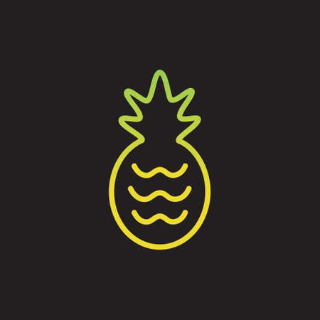 Pineapple vector gradient illustration. Simple one line green and yellow pineapple fruit icon, hand drawing. Neon like exotic fruit sign, symbol. Isolated on black background.