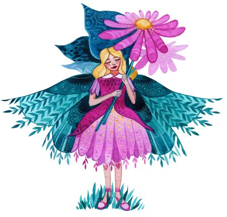 Illustration of a fairy with a pink flower in her hands.