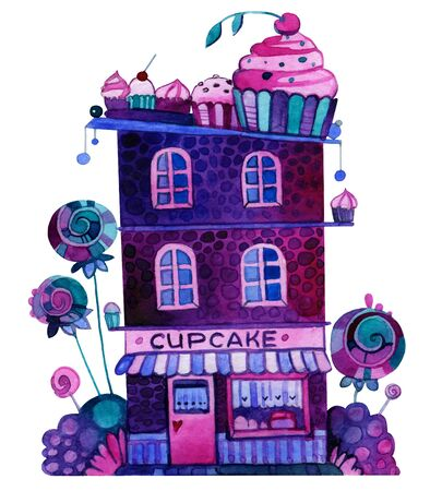 Watercolor cupcake house with sweets instead of bushes. 写真素材