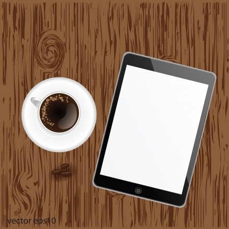 Tablet with white cup of coffee on wood table Stock Vector - 18912818