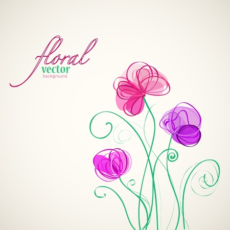magenta flowers: Floral vector background