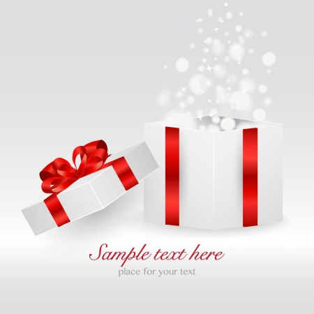 Decorative white opened gift box with a large red bow vector illustration Stock Vector - 18902289