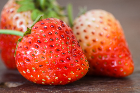 strawberries on wooden