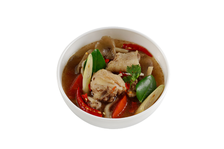 Spicy Chicken Soup (Tom Yum Gai) ,clear soup thai style isolated on white background