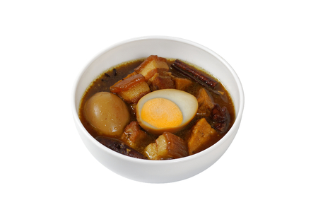 Egg and Pork in Sweet Brown Sauce (Kai Pa Lo) isolated on white background Imagens