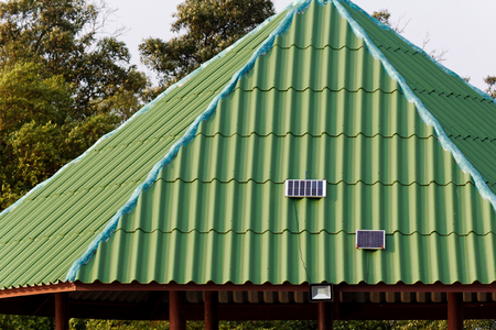 LED spotlight use solar cell power on roof of public rest house