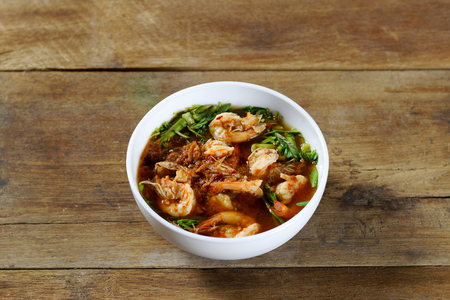 Sour soup with shrimp and water mimosa Stock Photo