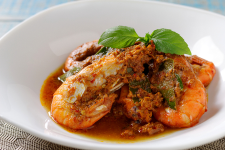 Stir Fried Shrimp with Red Curry Paste and Evaporated Milk