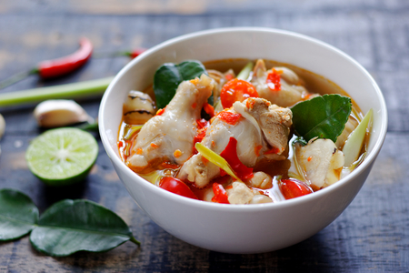 Spicy Chicken Drumstick Soup (Tom Yum Gai) ,clear soup thai style