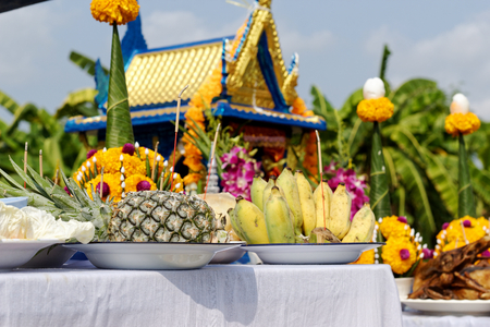 Food Set for Ceremony Set Up a new Spirit House in Thailand