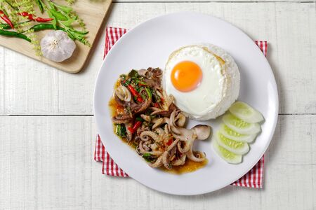 Rice topped with stir-fried Octopus dollfusi and basil with Sunny side up egg.Thai food 版權商用圖片