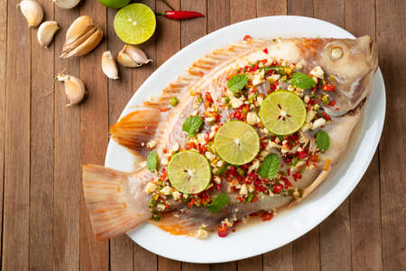 Red Tilapia Fish In Spicy Lime Soup