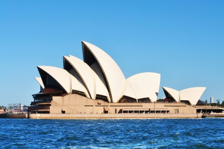 sydney: Sydney opera house againt blue sky background Editorial