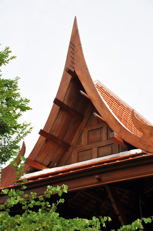 Gable of tradtional ancient thai style house photo