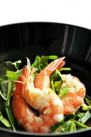 Sweet and sour prawns salad - Thai food photo