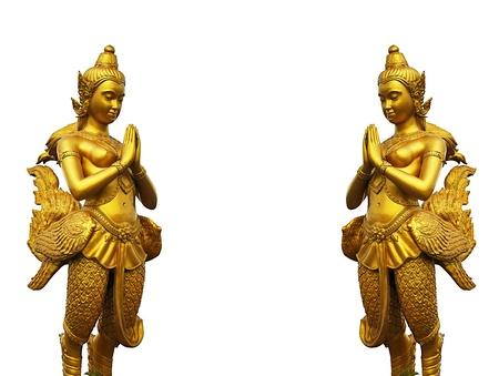 Thai style statues acting Wai  or Sawasdee  photo