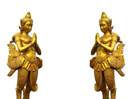Thai style statues acting Wai  or Sawasdee  photo