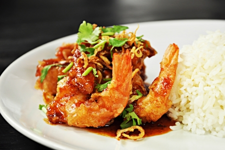 Deep fried prawns in Tamarind sauce with steam rice photo