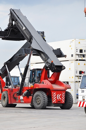 Crane truck on working site