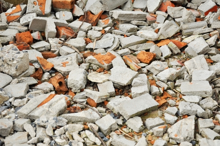 Smashing brick and concrete wreckages photo