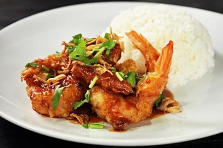 Deep fried prawns in Tamarind sauce with steam rice photo