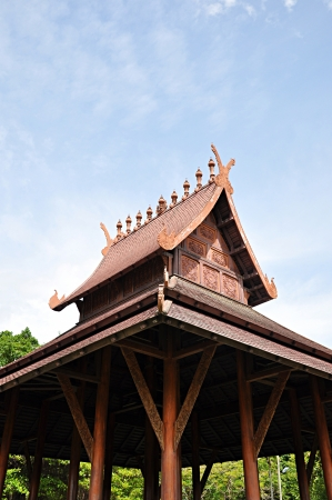 Ancient wooden Thai style pavilion photo