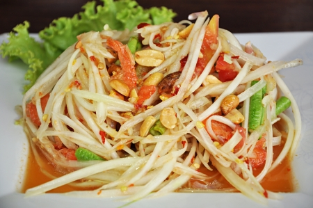 Thai papaya salad or Somtam photo