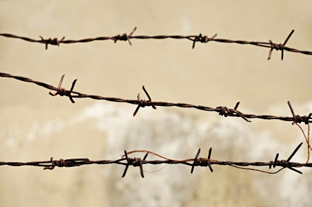 barbwire: Rusty old barb wire Stock Photo