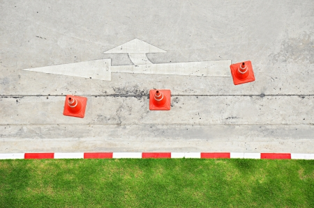 traffic barricade: Top view of traffic cones on concrete street Stock Photo