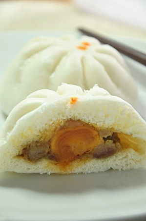Pork and yolk Chinese buns photo