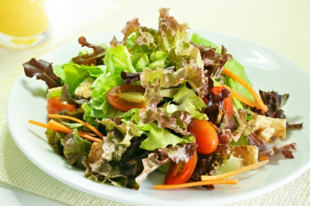 Fresh salad on white background photo