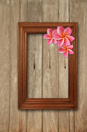 Wooden picture frame with Frangipani flower photo