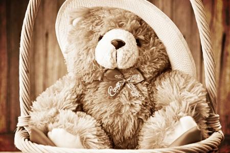 muneca vintage: Oso de peluche en la cesta Foto de archivo