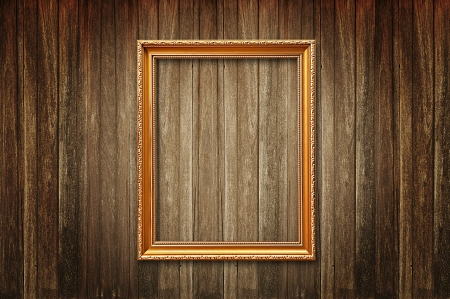 Picture frame on old wood background Stock Photo